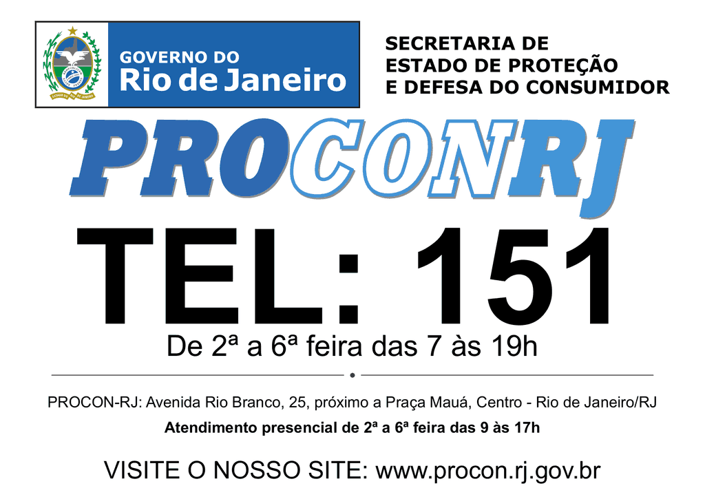 Postos de Atendimento, Endereço e Telefone do Procon RJ