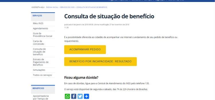 Consulta Situação de Benefício